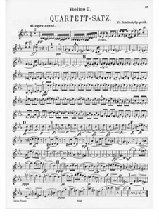 String Quartet No.12 in C Minor, D.703: Violin II part by Franz Schubert