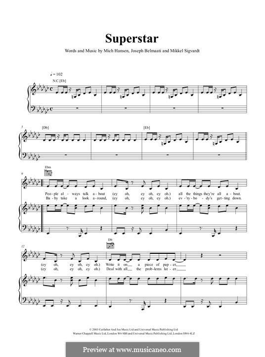 Superstar (Jamelia): For voice and piano by Joseph Belmaati, Mich Hansen, Mikkel Sigvardt
