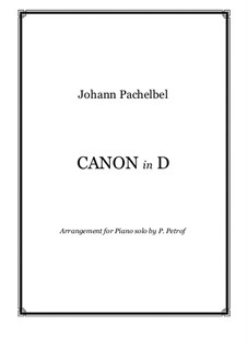 Canon in D Major: For piano solo by Johann Pachelbel