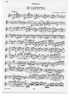 String Quartet No.14 in D Minor 'Death and the Maiden', D.810: Violin I part by Franz Schubert