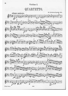 String Quartet No.10 in E Flat Major, D.87 Op.125 No.1: Violin I part by Franz Schubert
