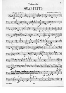 String Quartet No.10 in E Flat Major, D.87 Op.125 No.1: Cello part by Franz Schubert