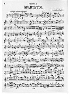 String Quartet No.15 in G Major, D.887 Op.161: Violin I part by Franz Schubert