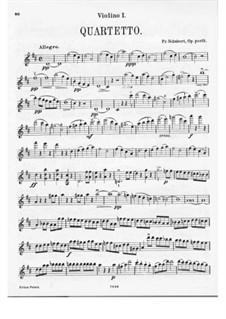 String Quartet No.7 in D Major, D.94: Violin I part by Franz Schubert