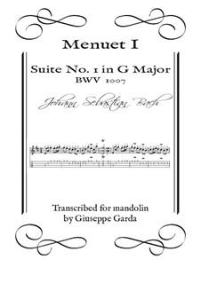Suite for Cello No.1 in G Major, BWV 1007: Menuet I. Arrangement for mandolin by Johann Sebastian Bach