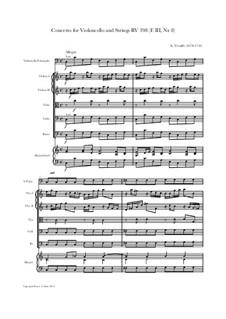 Concerto for Cello and Strings in C Major, RV 398: Score and parts by Antonio Vivaldi