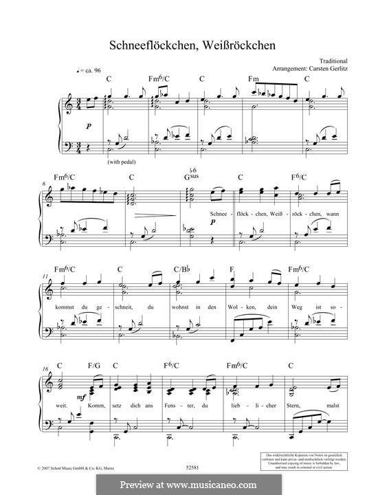 Schneeflöckchen, Weißröckchen: For piano by folklore