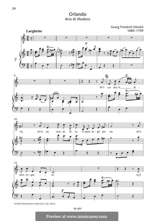 Orlando, HWV 31: Se'l cor mai ti dirá by Georg Friedrich Händel