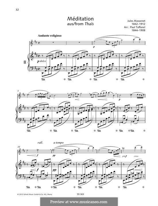 Meditation: For violin and piano by Jules Massenet
