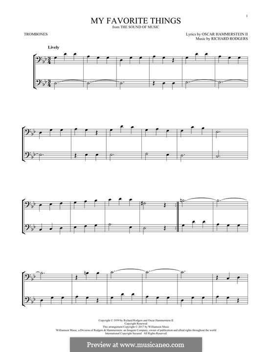 My Favorite Things (from The Sound of Music): For two trombones by Richard Rodgers