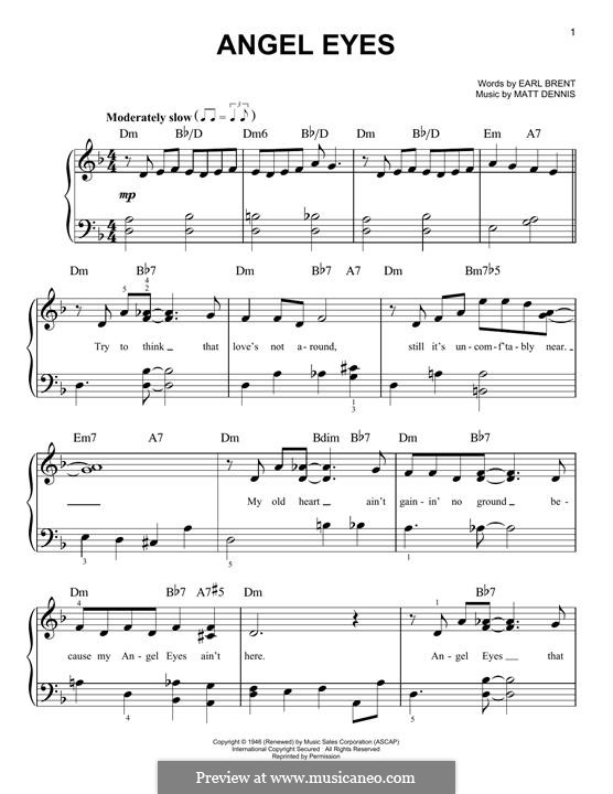 Angel Eyes (Frank Sinatra): For piano by Matt Dennis