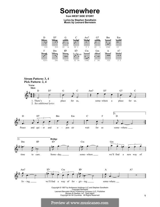 Somewhere (from West Side Story): For guitar with tab by Leonard Bernstein