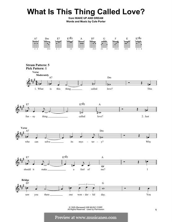 What Is This Thing Called Love?: For guitar by Cole Porter