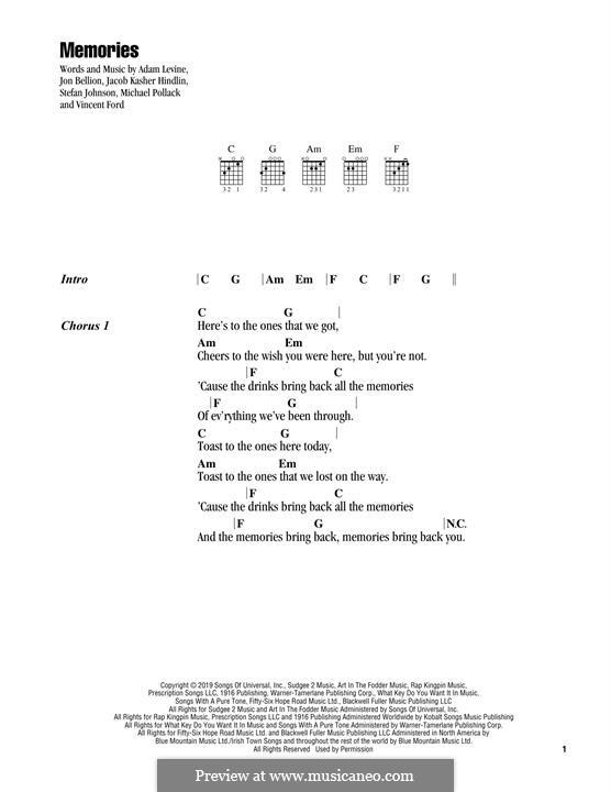 Memories (Maroon 5): Lyrics and chords by Adam Levine, Jacob Kasher Hindlin, Vincent Ford, Jonathan Bellion, Stefan Johnson, Michael Pollack