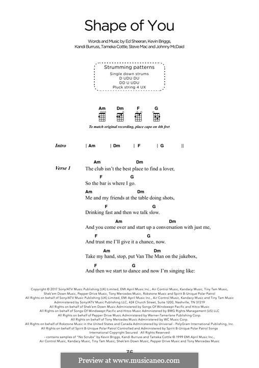 Shape of You: Lyrics and chords by Ed Sheeran, Steve Mac, John McDaid
