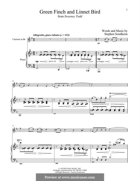 Green Finch and Linnet Bird: For clarinet and piano by Stephen Sondheim