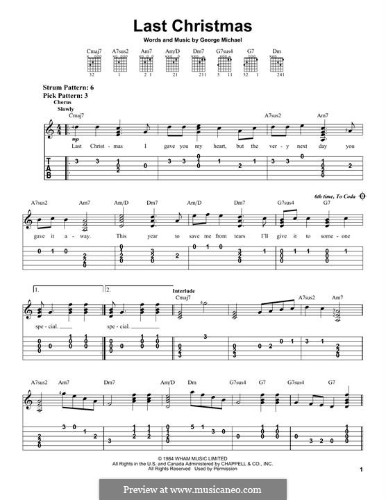 Last Christmas (Wham!): For guitar by George Michael