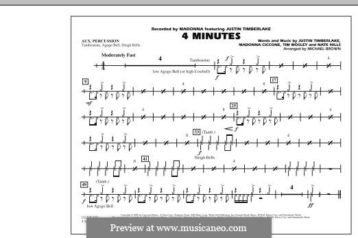 4 Minutes (Madonna featuring Justin Timberlake): Aux Percussion part by Madonna, Floyd Nathaniel Hills, Timbaland