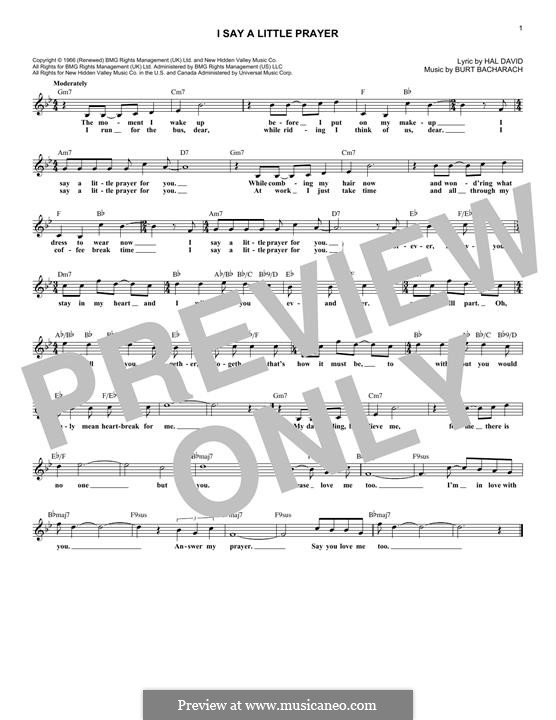 I Say a Little Prayer: Melody line by Burt Bacharach