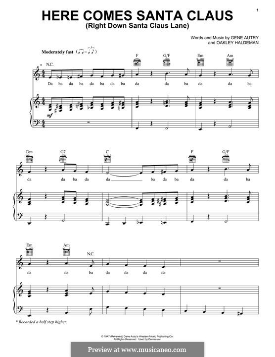 Here Comes Santa Claus (Right Down Santa Claus Lane): For voice and piano or guitar (Pentatonix) by Gene Autry, Oakley Haldeman