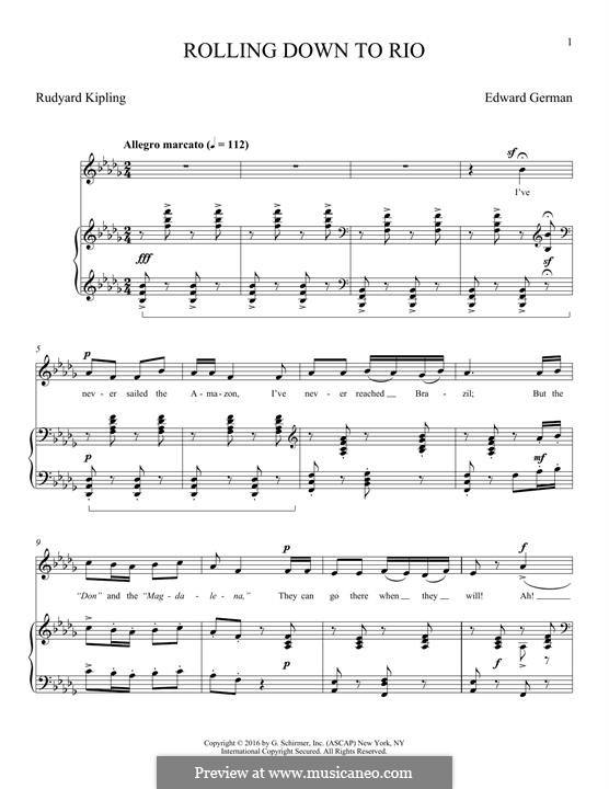 Rolling Down to Rio: For voice and piano by Edward German
