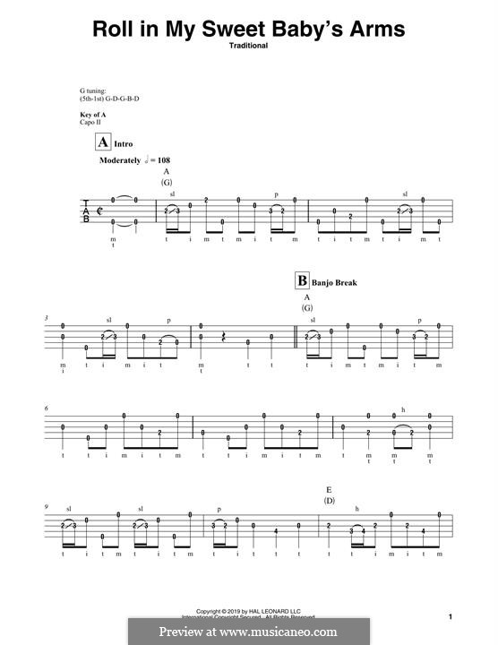 Roll in My Sweet Baby's Arms: For guitar by folklore