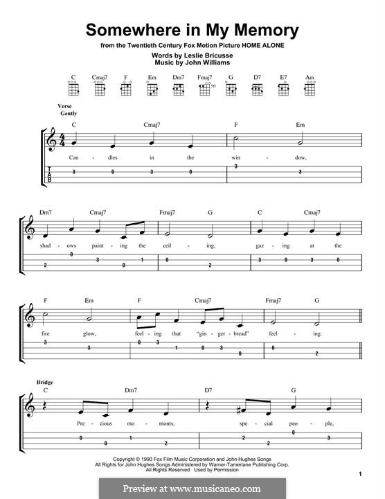 Somewhere in My Memory: For ukulele by John Williams