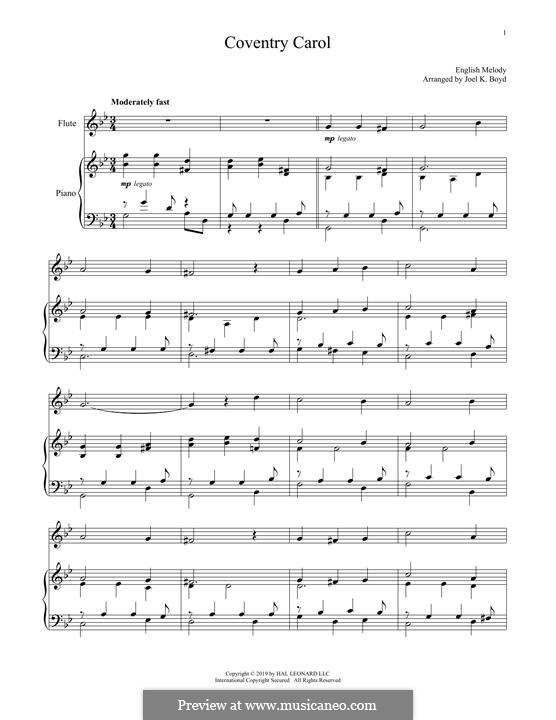 Coventry Carol: For flute and piano by folklore