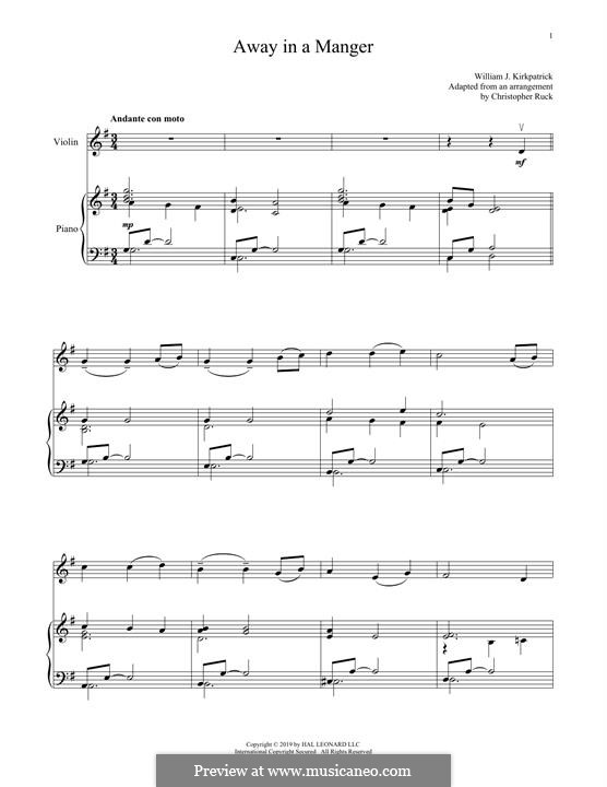 Away in a Manger: For violin and piano by folklore