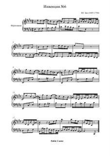 No.6 in E Major, BWV 777: For piano by Johann Sebastian Bach