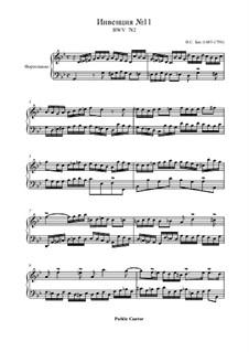No.11 in G Minor, BWV 782: For piano by Johann Sebastian Bach