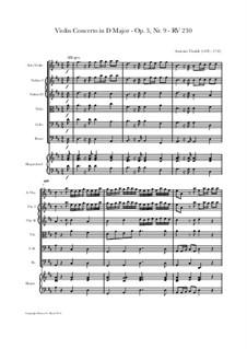Concerto for Violin and Strings No.9 in D Major, RV 230: Full score, parts by Antonio Vivaldi