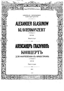 Concerto for Piano and Orchestra No.1 in F Minor, Op.92: Full score by Alexander Glazunov