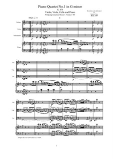 Quartet for Piano and Strings No.1 in G Minor, K.478: Score and parts by Wolfgang Amadeus Mozart