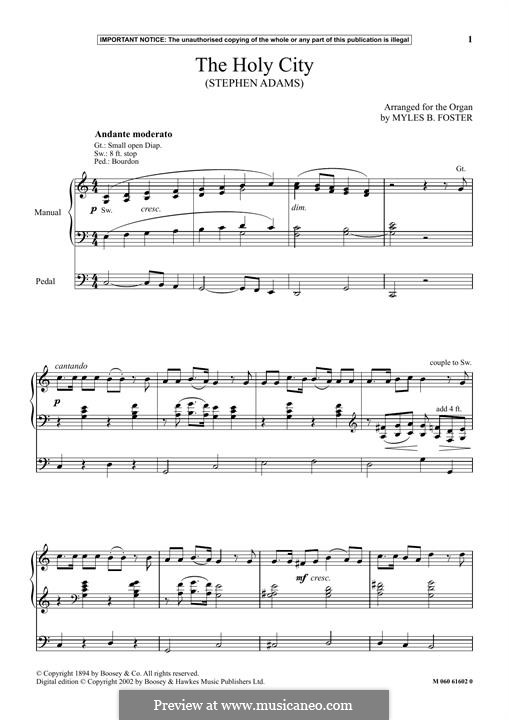 The Holy City: For organ by Stephen Adams