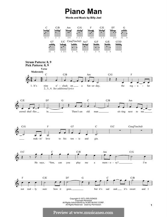 Piano Man: For guitar by Billy Joel
