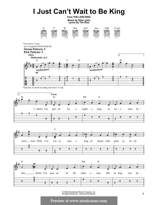 I Just Can't Wait To Be King (from The Lion King): For guitar with tab by Elton John