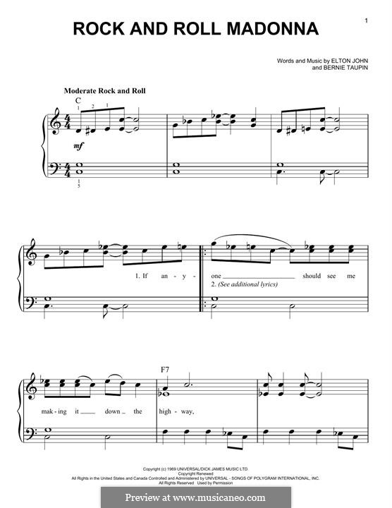 Rock and Roll Madonna (from Rocketman): For piano by Elton John