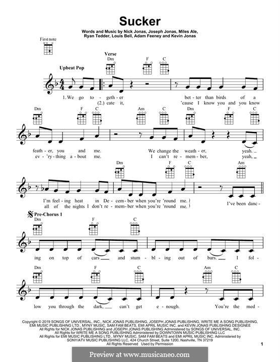 Sucker (Jonas Brothers): For ukulele by Joseph Jonas, Kevin Jonas Sr., Nicholas Jonas, Ryan B Tedder, Louis Bell, Frank Dukes