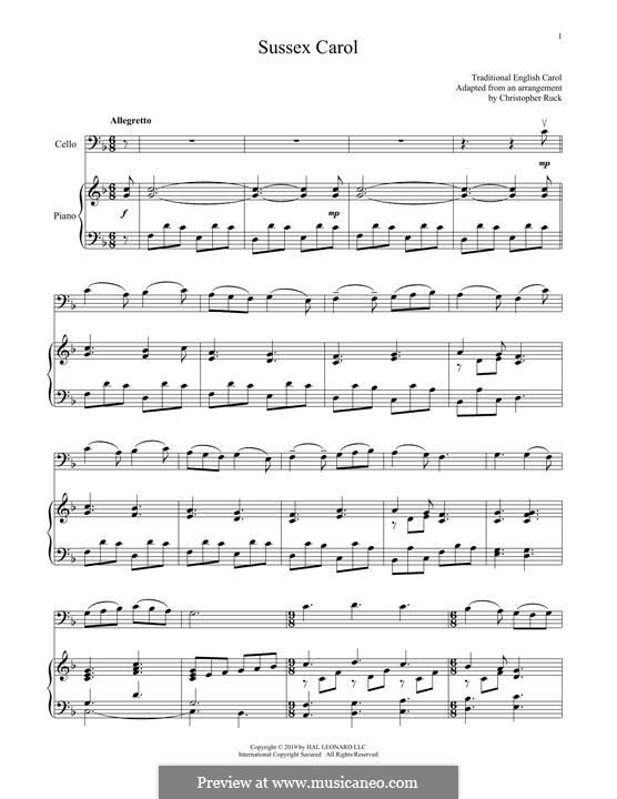 Sussex Carol: For cello and piano by folklore