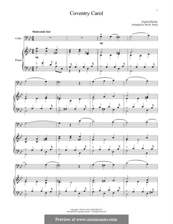 Coventry Carol: For cello and piano by folklore
