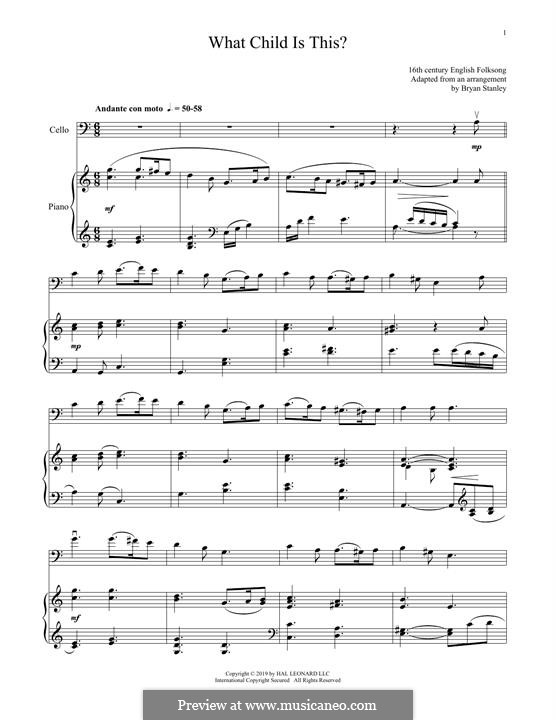 What Child is This (Christmas Carol): For cello and piano by folklore