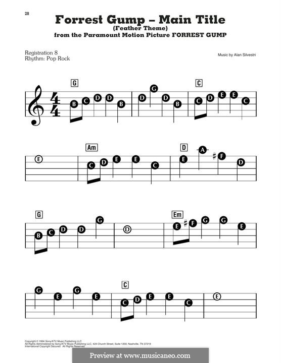 Forrest Gump Suite (Theme): For piano by Alan Silvestri