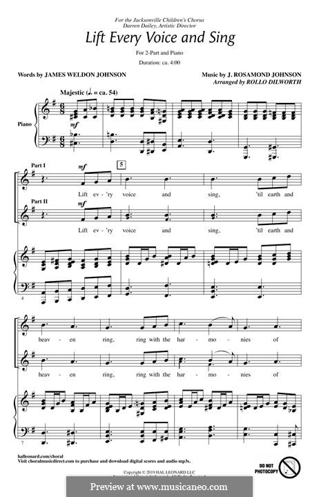 Lift Ev'ry Voice and Sing: For mixed choir by James Weldon Johnson