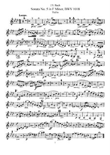 Sonata for Violin and Harpsichord No.5 in F Minor, BWV 1018: Arrangement for violin and piano – solo part by Johann Sebastian Bach