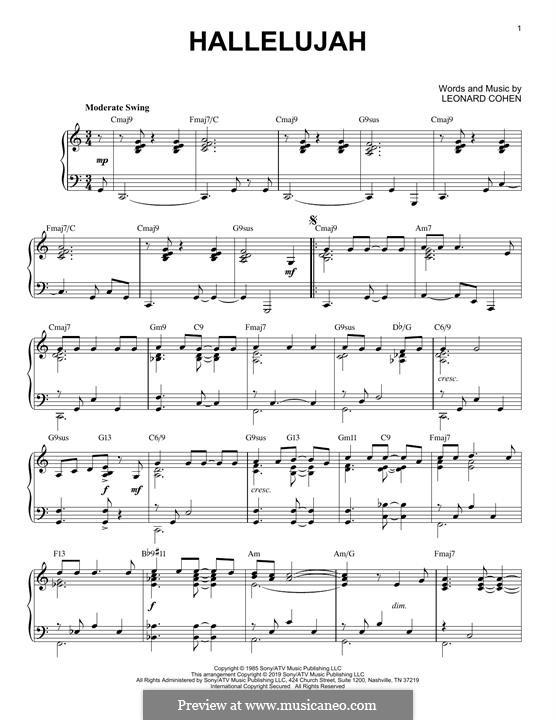 Hallelujah, for Piano: Jazz version by Leonard Cohen