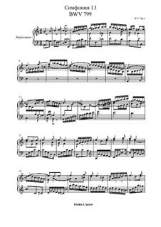 No.13 in A Minor, BWV 799: For piano by Johann Sebastian Bach