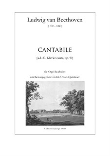 Sonata for Piano No.27, Op.90: Cantabile, for organ by Ludwig van Beethoven