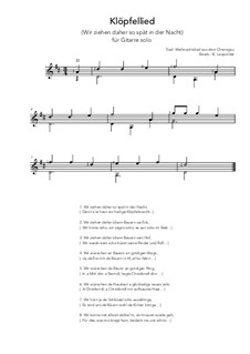 Klöpfellied: For guitar solo (D Major) by folklore