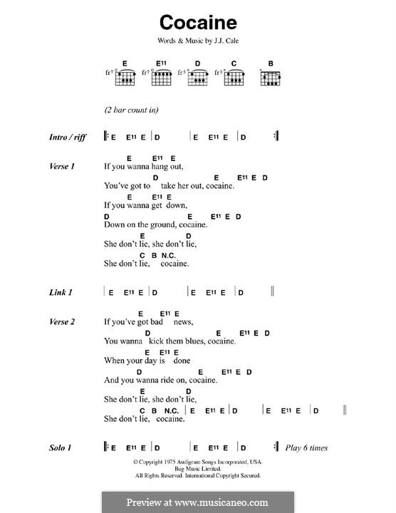 Cocaine: Lyrics and chords by J.J. Cale